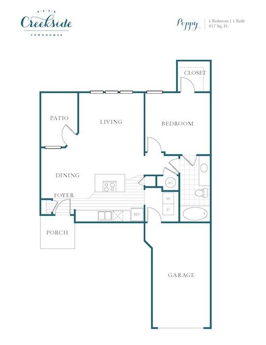 817 sq. ft. Poppy floor plan