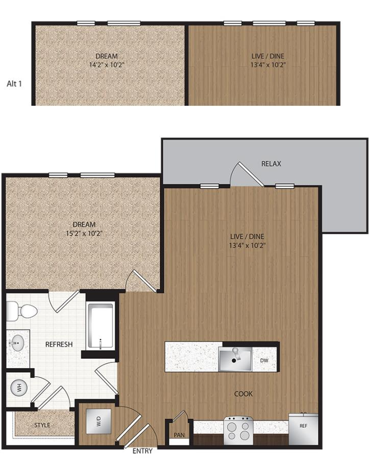 672 sq. ft. to 688 sq. ft. A2-Retreat floor plan