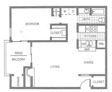 832 sq. ft. A3 floor plan