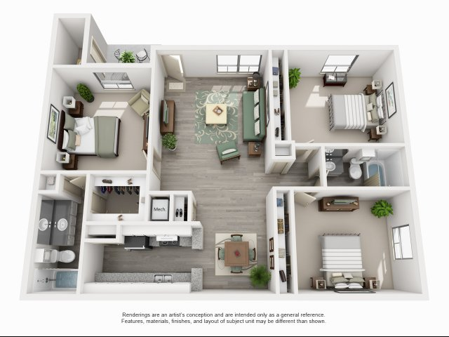 1,489 sq. ft. C3 floor plan