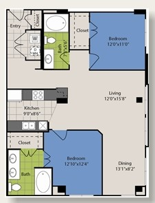 1,074 sq. ft. B6 floor plan