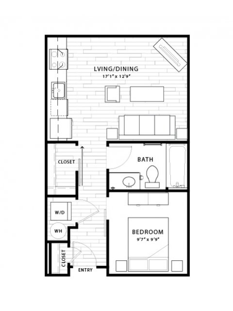 535 sq. ft. E1 floor plan