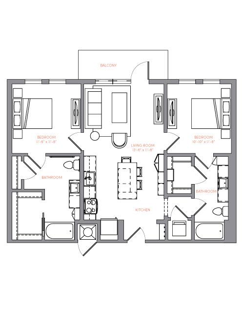 1,015 sq. ft. B1A.3 floor plan
