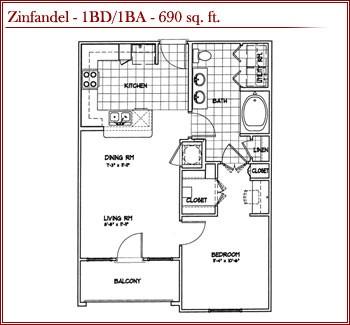 690 sq. ft. ZINFANDEL floor plan