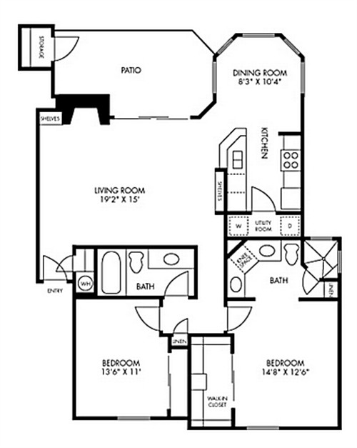 1,165 sq. ft. to 1,170 sq. ft. Christy floor plan