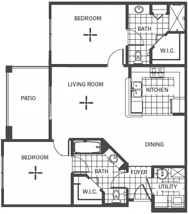 1,034 sq. ft. floor plan