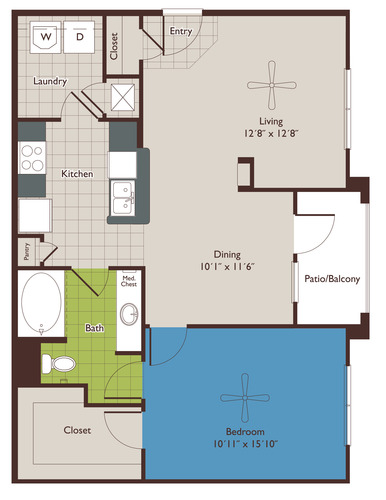 882 sq. ft. A2 floor plan