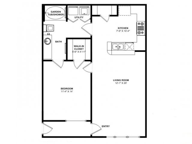 708 sq. ft. Cedar floor plan