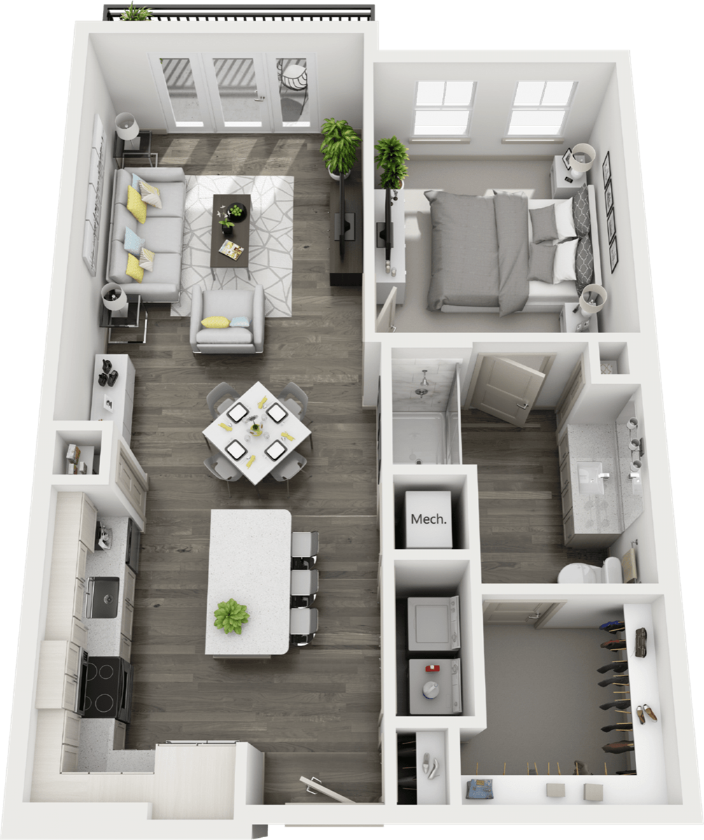 710 sq. ft. to 901 sq. ft. A3 floor plan