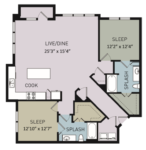 1,423 sq. ft. B4 floor plan