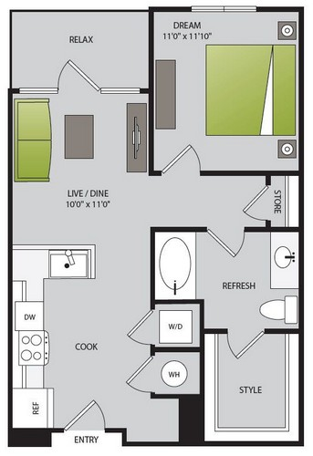 662 sq. ft. A1.1 floor plan
