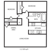 929 sq. ft. B2 floor plan