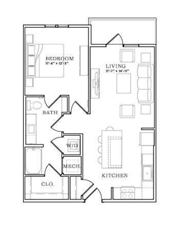 727 sq. ft. floor plan