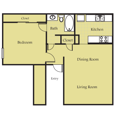 687 sq. ft. A floor plan
