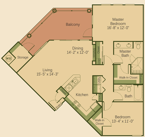 1,227 sq. ft. 2B floor plan