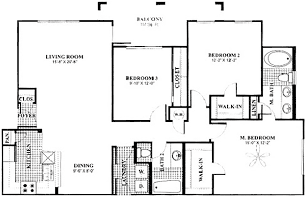 1,355 sq. ft. to 1,384 sq. ft. C1 floor plan