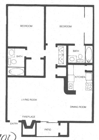 825 sq. ft. RIO GRANDE floor plan