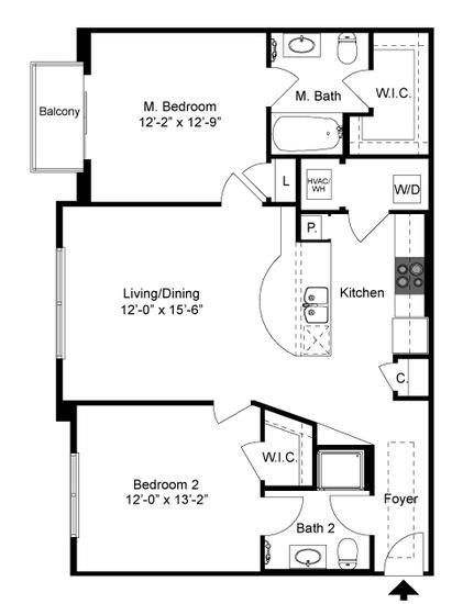 975 sq. ft. B1 Mkt floor plan