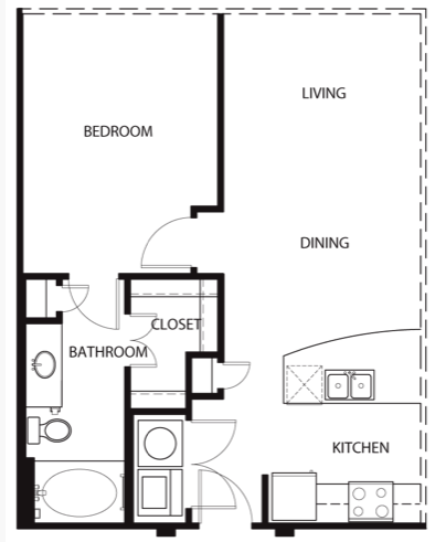 673 sq. ft. to 698 sq. ft. A0 floor plan