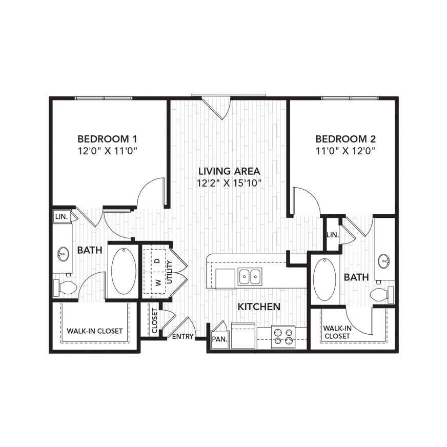 970 sq. ft. B2 floor plan