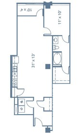 894 sq. ft. A4 floor plan
