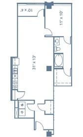 894 sq. ft. A4 floor plan