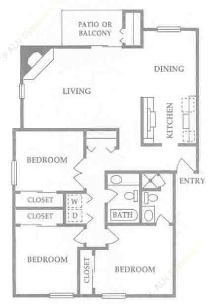 1,211 sq. ft. D floor plan