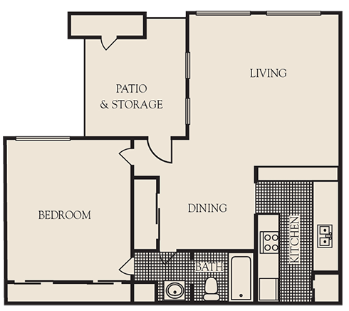 700 sq. ft. A1 floor plan