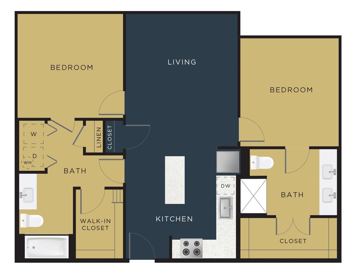 1,070 sq. ft. to 1,131 sq. ft. B1 floor plan