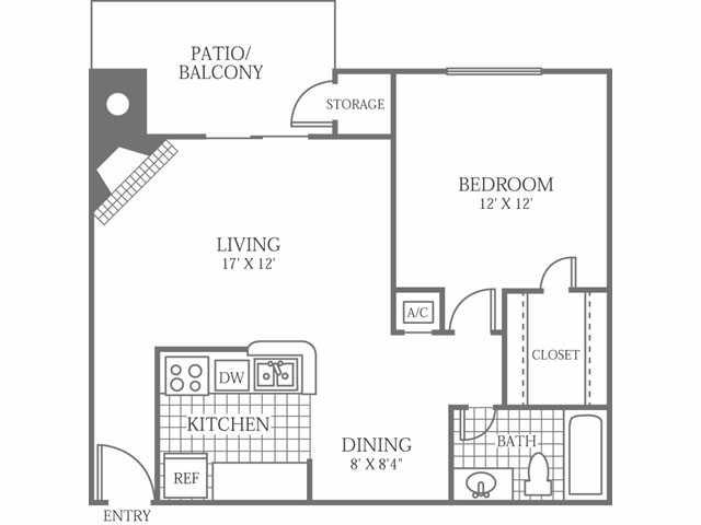 716 sq. ft. D floor plan