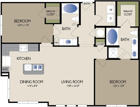 1,176 sq. ft. Paris floor plan