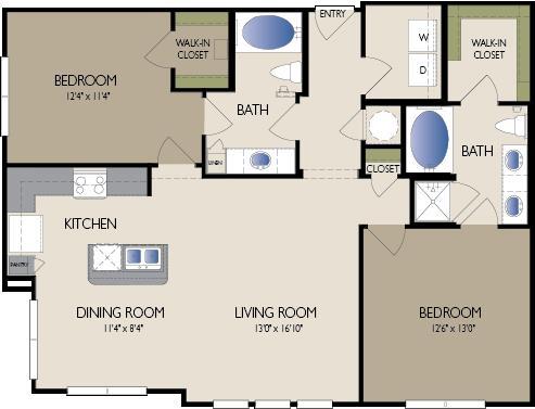 1,176 sq. ft. Paris floor plan