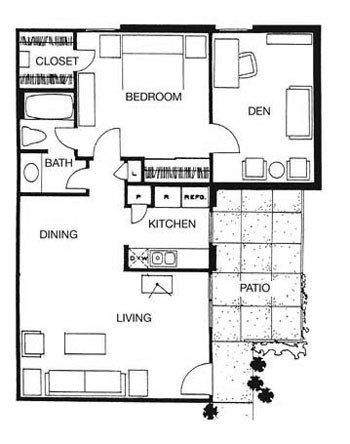 853 sq. ft. La Paz floor plan