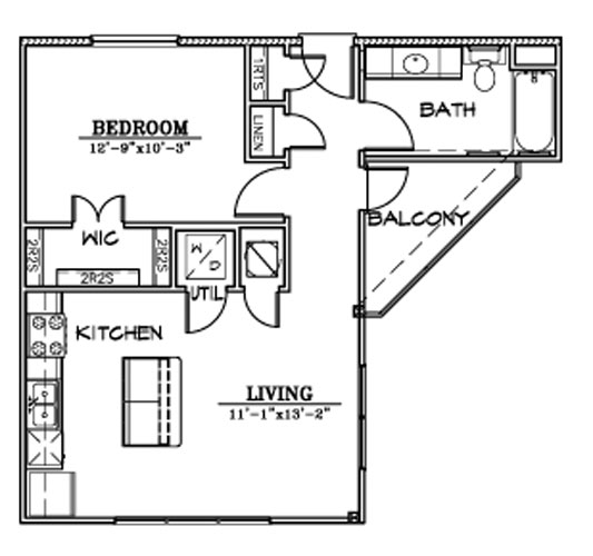642 sq. ft. A7B floor plan