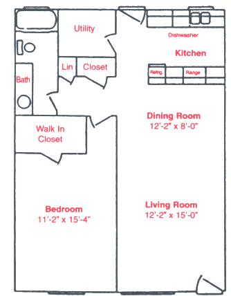780 sq. ft. A1 floor plan