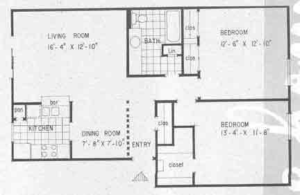 934 sq. ft. B2 floor plan