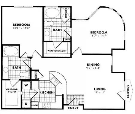 1,200 sq. ft. to 1,265 sq. ft. B4 floor plan