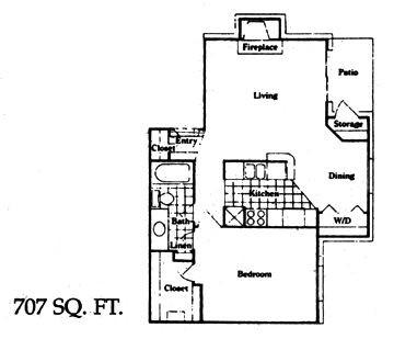 707 sq. ft. C floor plan