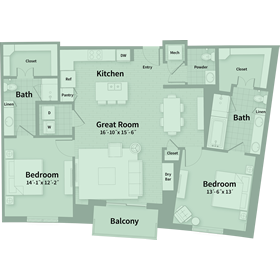 1,473 sq. ft. D1 floor plan