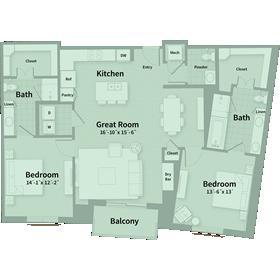 1,473 sq. ft. D1 floor plan