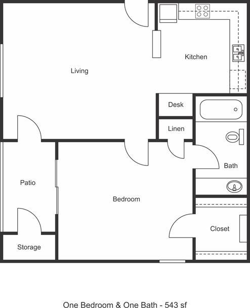 543 sq. ft. floor plan