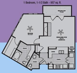 887 sq. ft. to 957 sq. ft. B floor plan