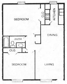 950 sq. ft. D floor plan
