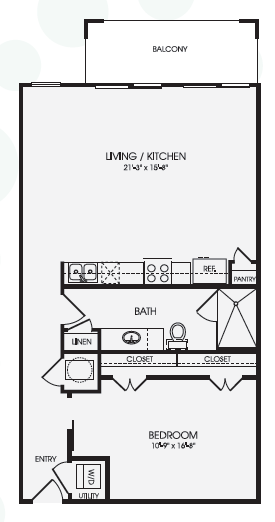 838 sq. ft. Avalon/E2 floor plan