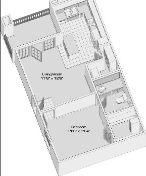 480 sq. ft. A1 floor plan