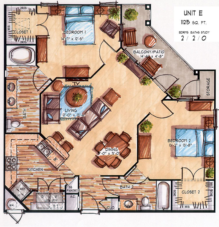 1,125 sq. ft. D floor plan