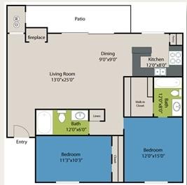 1,034 sq. ft. Rochester floor plan