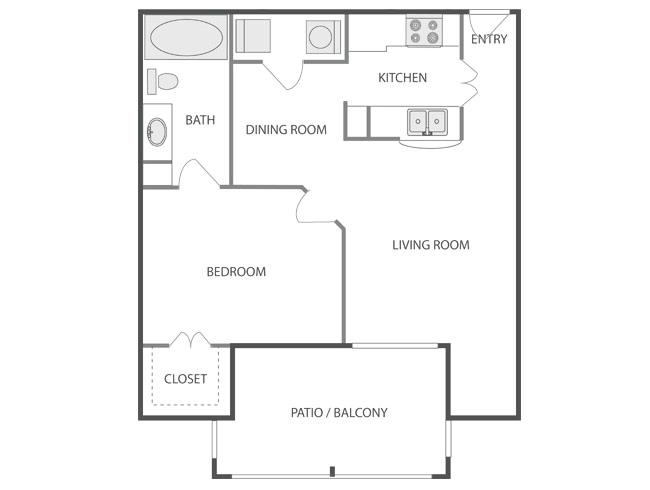 695 sq. ft. BRECKENRIDGE floor plan
