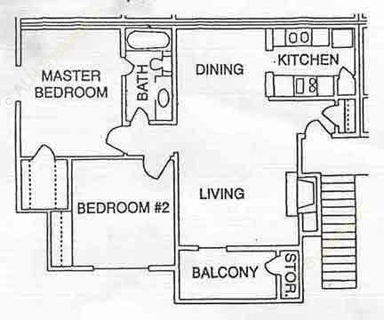 704 sq. ft. A2 floor plan
