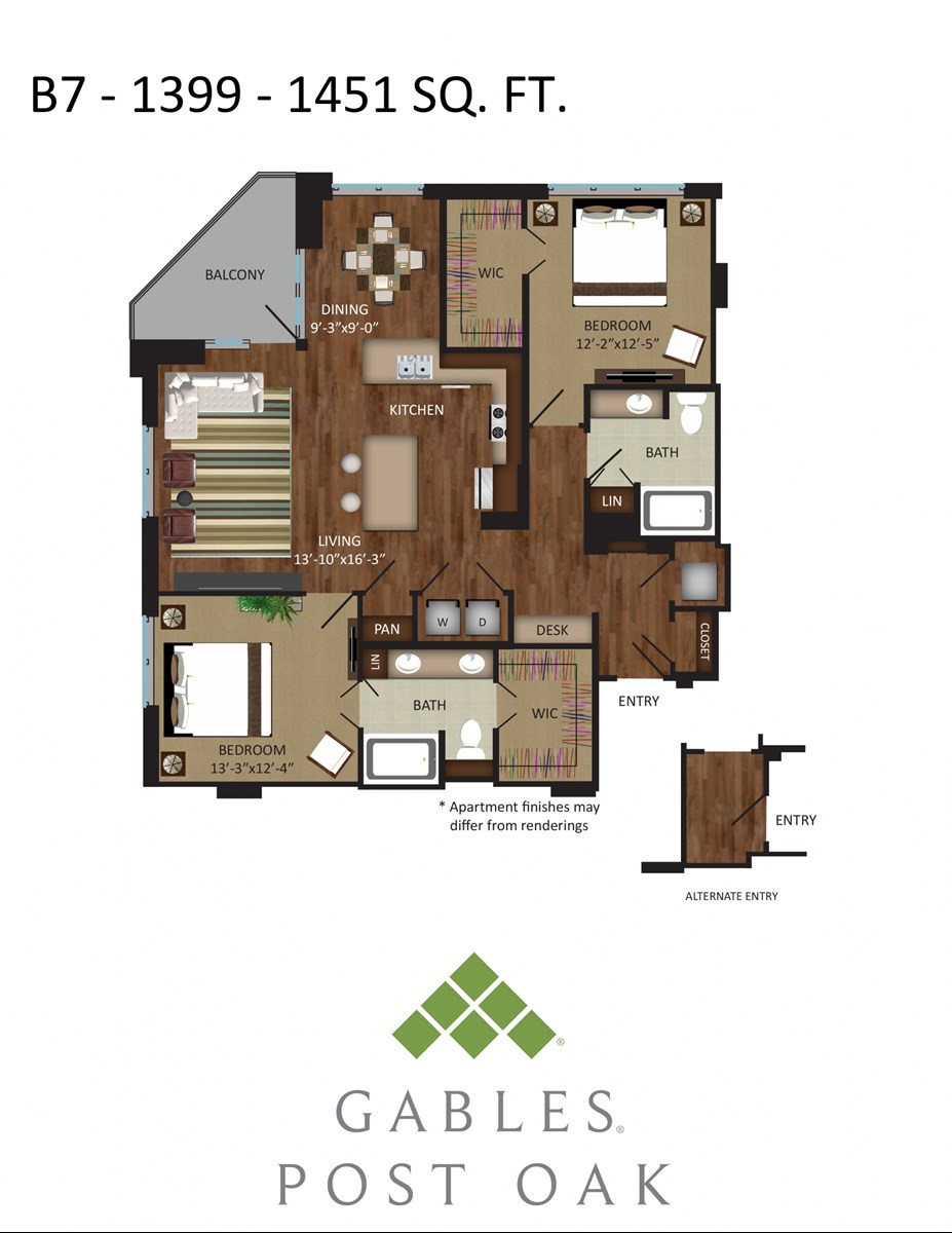 1,451 sq. ft. B7A floor plan